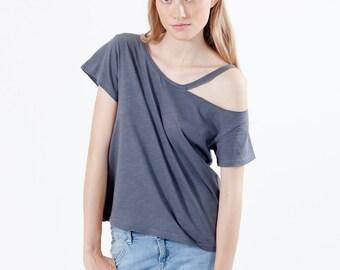 Cold shoulder top grey cotton jersey, open shoulder cut out tshirt, cotton oversize off shoulder top