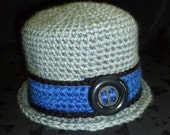 Baby Crochet Hat, Baby Boy Hat, Baby Bucket Hat, Photo Prop - Size 6-12 Months - Grey with Blue and Black Accents