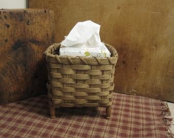 Antique Clothespin Handwoven Basket Primitive Style, Primitive Laundry Room, Snippet Basket for Rug Hooking, Facial Tissue Basket, Upcycled