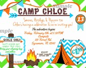 Camping Party Invitation Chevron Tent Camp Monogram Bunting Invite Birthday Printable bonfire color options