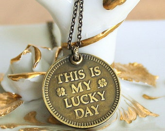Lucky Charm Necklace Vintage Good Luck Token Pendant - Horseshoe Clovers Shamrocks - Gift Idea