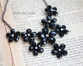 Fashion Cluster Necklace  Vintage Style Antiqued  Black   chain, Black flower  pendant,  Valentines Gift Bridesmaid gift  N30-03