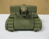 Wooden Vintage Toy MilitaryTrack Vehicle USA M-7 Collectible Pull Toy Rare WWII Era Army Green Honor A Veteran Good Condition Old Pull Toy