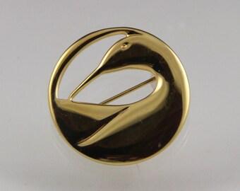 Classic Ken Kantro Lovell Designs Gold Plate Preening Loon Brooch