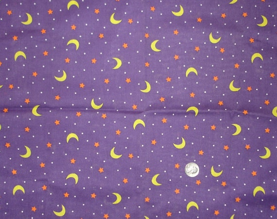 Halloween fabric print star moon polka dots purple yellow for Moon print fabric