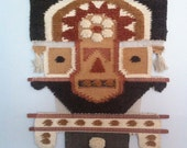 aztec/south american warrior head fabric wall hanging/1960's