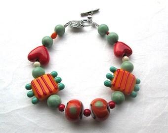 Colorful Beaded Bracelet, Orange Bracelet, Fun Bracelet, Beadwork Bracelet, Multi-color Bracelet