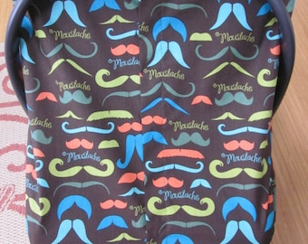 Fitted Car Seat Canopy/Cover with Velcro Closure and Elastic - Moustache Fabric