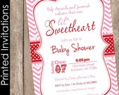 Printed Valentine's Day Baby Shower Invitation, pink, red, chevron, lil' sweetheart, typography (FREE ENVELOPES)