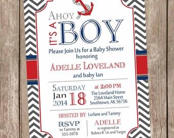 Chevron Ahoy it's a boy baby shower invitation, red, blue, grey, gray, anchor, nautical, printable invitation