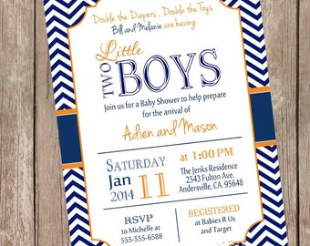 Twin Boys Baby Shower Invitation, Navy and Orange, Chevron Baby Shower Invitation, printable invitation