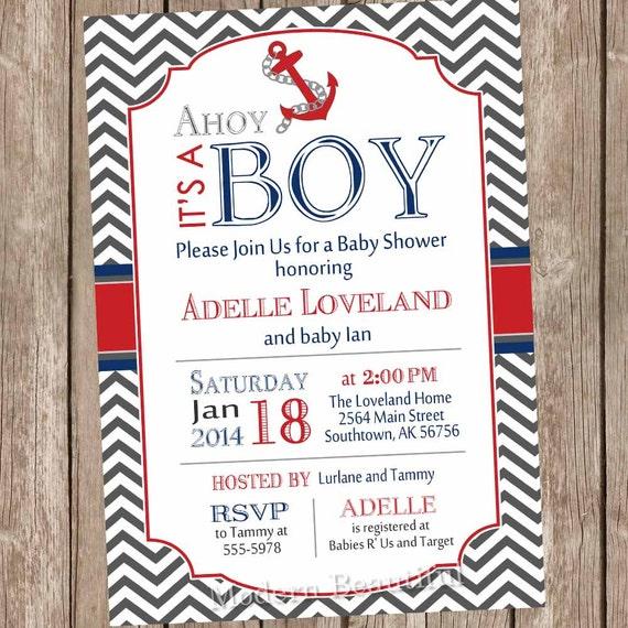 chevron ahoy it's a boy baby shower invitation red blue, Baby shower invitations