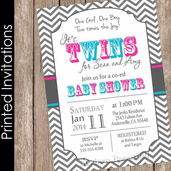 Printed twins baby shower invitation twin girl twin boy boy and il570xn filmwisefo