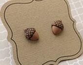 Acorn Earrings, Tiny Titanium Earrings, Nickel Free