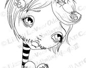 Digi Stamp Digital Instant Download Creepy Cute Big Eye Girl & Zombie Heart Image No.103 by Lizzy Love
