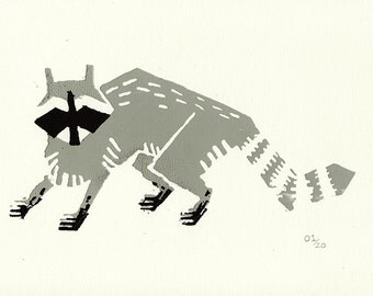 "Silkscreen Raccoon Print 4x6"" Limited Edition of 20"