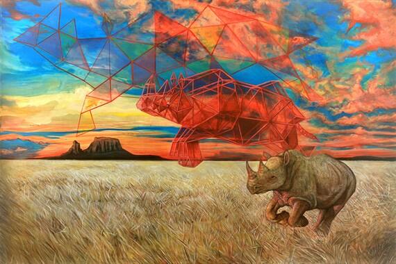 African Black Rhinoceros Landscape Sacred Geometry Rhino