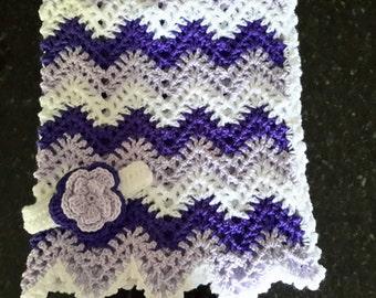 baby girl, chevron, ripple, baby, crochet blanket, afghan crochet, crocheted blanket, crocheted afghan, lavender, purple, white