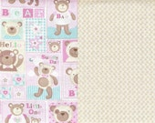 Pink Fabric Teddy Bear Fabric Baby Block Fabric Beige Dots Fabric Fat Quarters or BTY Quilt Fabric Cotton Fabric Sewing Supplies YacketUSA