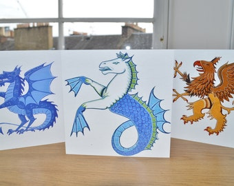 Blue Dragon, Seahorse, Griffin greetings birthday cards printed cards