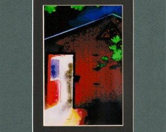 "Open Door-8""x10"" Green and Black Double Mat-3.5""x5.5""Original Art Print by SQ Streater"