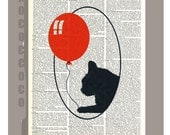 Cat with red Ballon  - ORIGINAL ARTWORK  printed on Repurposed Vintage Dictionary page -Upcycled Book Print