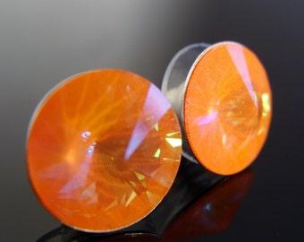 Sterling Silver Swarovski Crystal Ultra Orange 12 mm Rivoli Post Stud Earrings