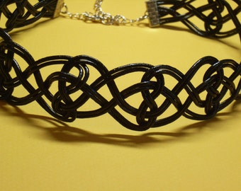 Chinese Knot Necklace, by Natural Leather Rope, Black