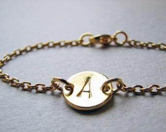 Initial Bracelet, Gold Initial Bracelet, Bridesmaid Bracelet, Bridesmaid Gifts, Gold Monogram Bracelet, Personalized, Custom Initial Gold