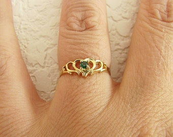 Solid 14K Gold  cz Emerald Ring, size 5