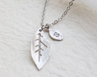 Two leave - personalized initial silver leaf Necklace - S2336-1