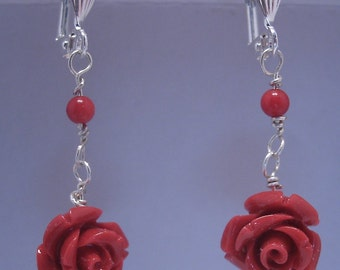 Carved Coral Rose Earrings