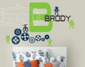 Robot name monogram with gears and cogs vinyl decal set