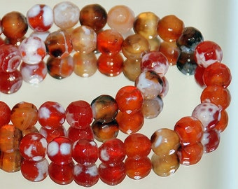 Half Strand 6mm Faceted Amber Crab Fire Agate Gemstone Round Beads - 30 beads