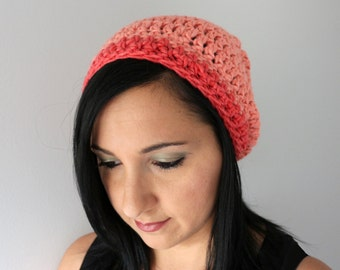 Coral and Pink Luxury Merino and Silk Blend Slouchy Hat,  Fashion Accessories t