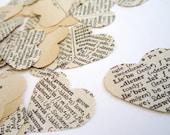 100 hearts - Wedding Confetti paper heart confetti . vintage wedding confetti . dictionary confetti