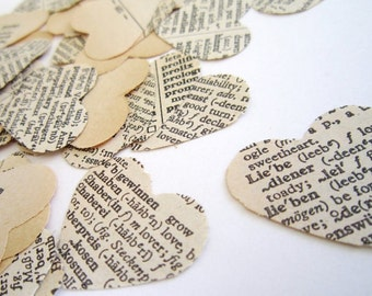 100 hearts - Wedding Confetti paper heart confetti . vintage wedding confetti . dictionary confetti