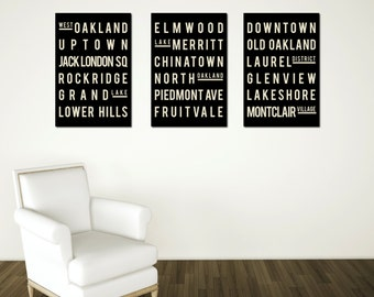 Oakland Art, Typography Poster, Christmas, Gift for the Home, Nursery, Kitchen, for Him, for Her, Wall Art, Set of 3, Xmas Gift, Holiday