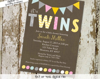 twin baby shower invitation polka dots bunting banner rainbow sip and see baby sprinkle birthday diaper (item 150) shabby chic invitations