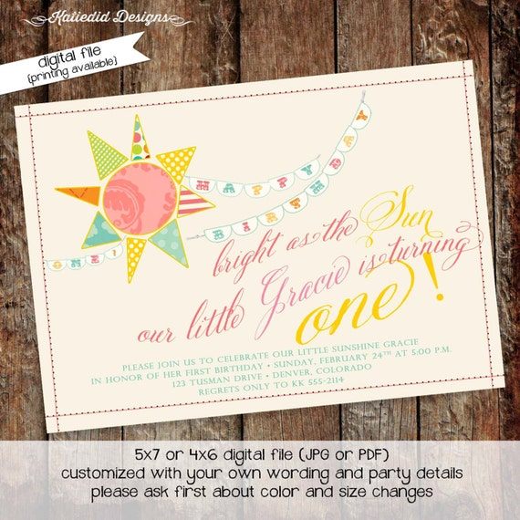 sunshine birthday invitation brighter than the sun you are my sunshine gender reveal baptism christening (item 259) shabby chic invitation
