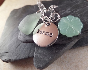 Scottish Sea Glass Necklace in Aqua with Karma Charm and Flower Bead, Gift from Scotland, Yoga Jewelry