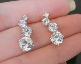 Silver Sterling Post Drop Crystal earring post Findings, setting, 2 pc, J58452