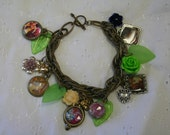 Charm bracelet flowers ladies leaves hearts metal chain one of a kind