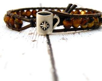 Coffee Swirl Czech Bead Leather Wrap Bracelet with Star Cup Button/ Mocha/ Java Bracelet/ Coffee Shop Girlfriend/ Boho Chic