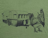 Mens urban chicken with trailer-  american apparel olive green- available in S, M, L, XL, XXL- WorldWide Shipping