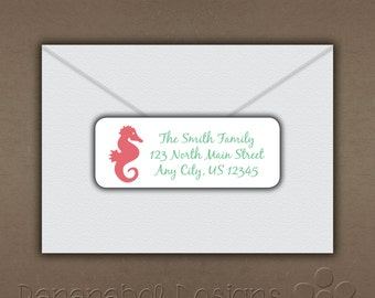 Seahorse Return Address Label