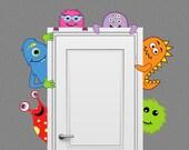 Monster Buddies Nursery Decor Wall Decal Peeking Door Hugger Boy Kid Room Decor
