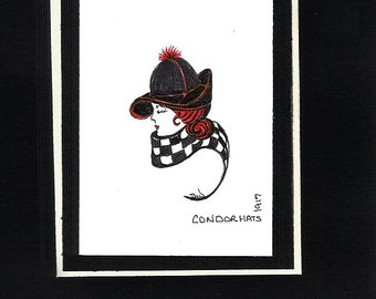 Greeting Card, Original Pen and Ink, Hat and Scarf 1917