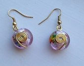 Pink and Multi Colored Round Blown Glass Earrings with Decorative Gold Spirals