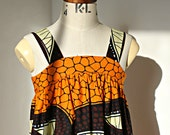 Sundress in a bold orange and brown African Print